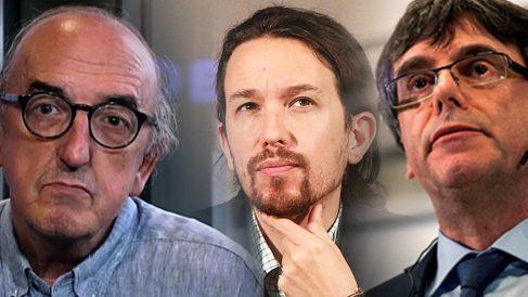 Jaume Roures, Pablo Iglesias y Carles Puigdemont.