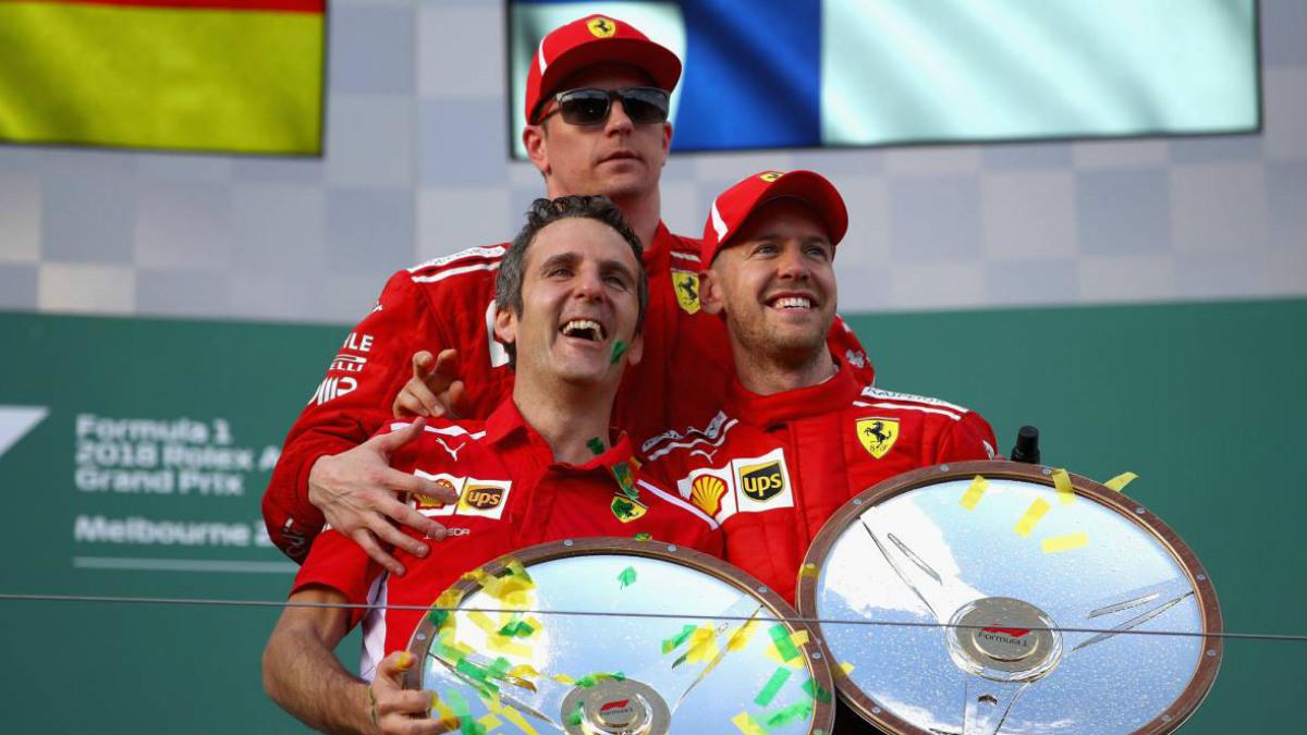 Iñaki Rueda en el podio de Albert Park. (Getty)
