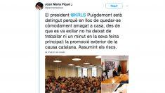 'Tuit' de Joan María Piqué, tras el arresto de Puigdemont.