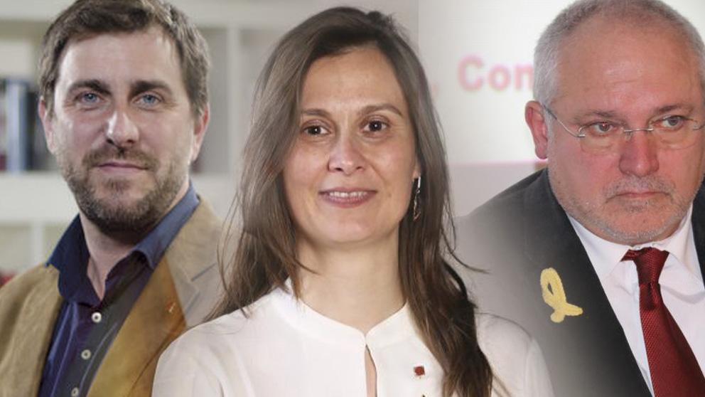 La ex consellera de Agricultura, Meritxell Serret, y el ex conseller de Salud, Toni Comín; y el ex consejero Lluís Puig, los tres militantes de ERC y fugados en Bruselas.