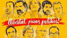 Cartel difundido por las facciones de Compromís para la concentración en apoyo a los golpistas encarcelados