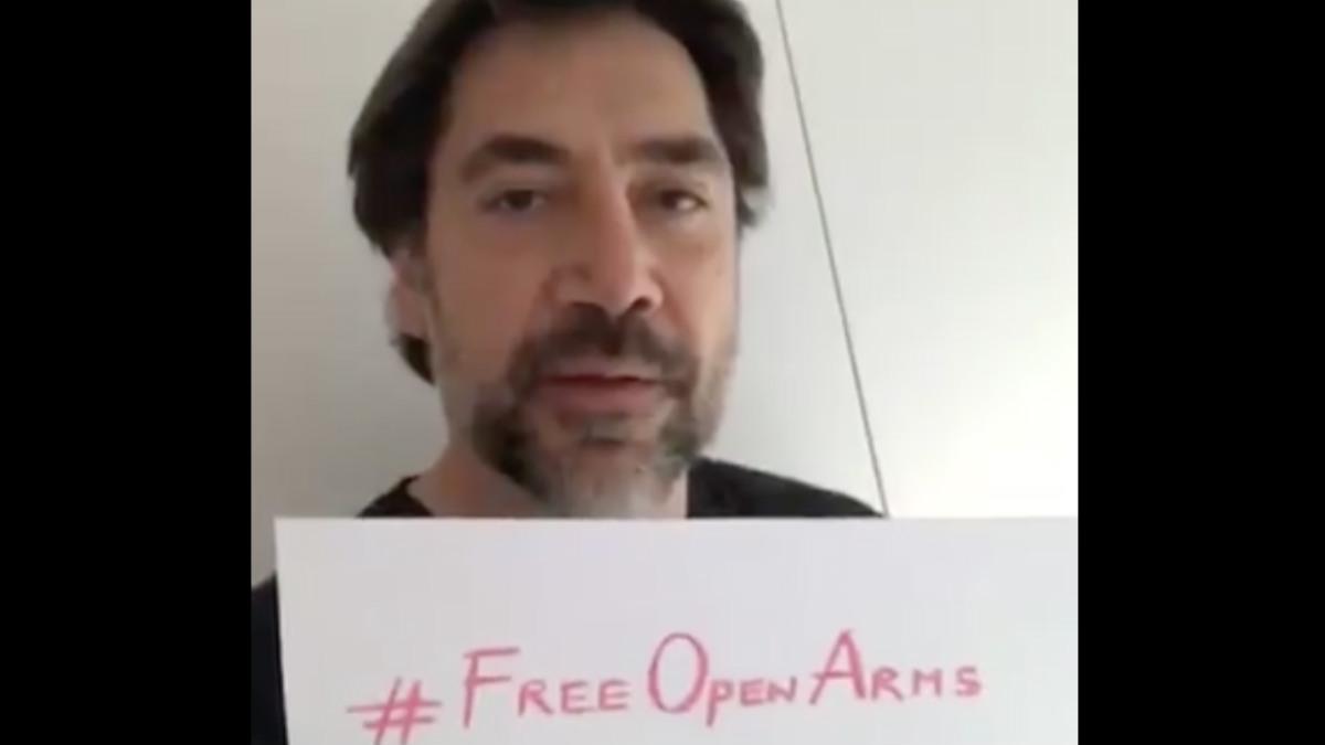 Javier Bardem en un vídeo apoyando la liberación del barco retenido en Italia de la ONG catalana Proactiva Open Arms.