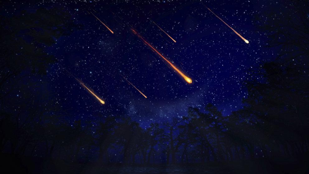 Una lluvia de meteoritos se vería así.