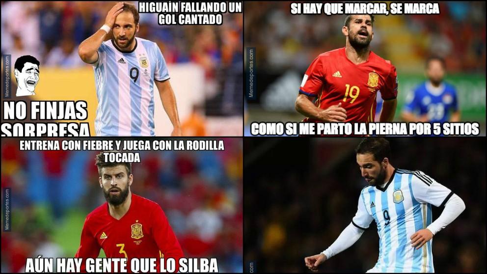 Los memes del España-Argentina se centraron en Higuaín.
