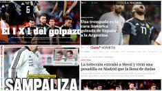 La prensa argentina hace sangre tras la goleada del Wanda Metropolotiano.