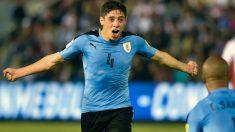 Fede Valverde celebra su gol con Uruguay. (AFP)