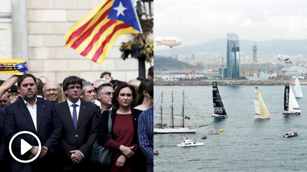 Ada Colau con los líderes golpistas e imágenes de la Barcelona World Race. (Fotos: Getty/BWR)