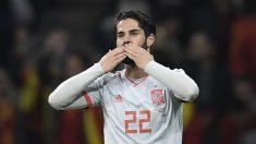 Isco celebra uno de sus goles con España (AFP).