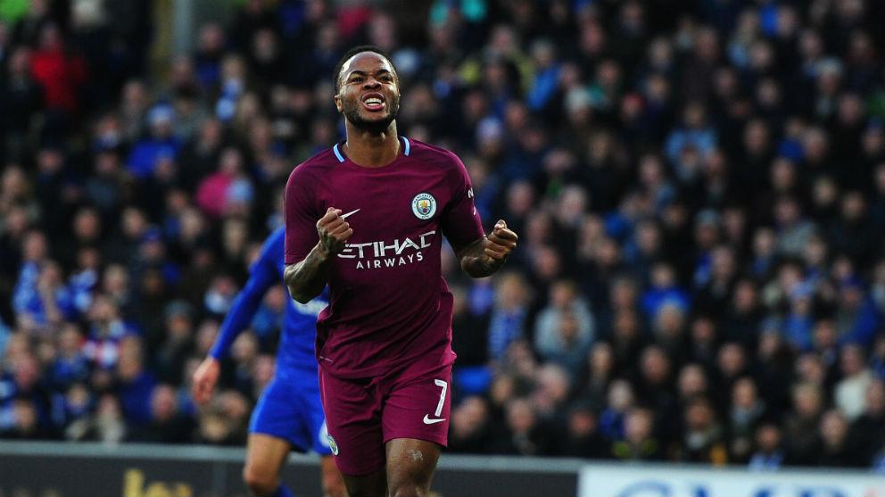 Sterling celebra un gol con el City. (Getty)
