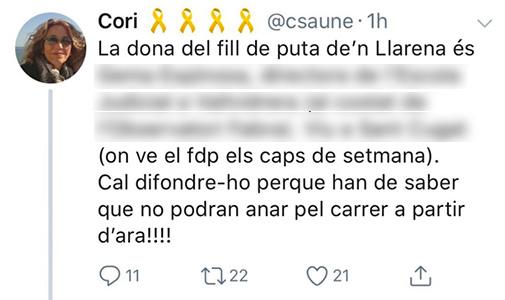 Tuit de Cori Sauné Ollé amenazando a la mujer de Pablo Llarena.