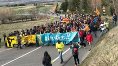 Cerca de 300 independentistas convocados por la CUP y los CDR en una manifestación hasta el municipio de Das (Gerona).