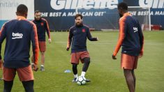 Leo Messi, durante el entrenamiento del Barcelona. (@FCBarcelona)