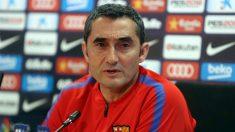 Ernesto Valverde, durante la rueda de prensa. (EFE)
