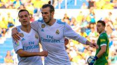 Lucas y Bale celebran un gol contra Las Palmas. (EFE)