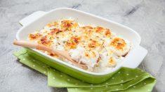 Receta de bacalao gratinado con patatas y cebollas