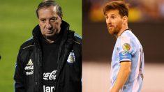 Carlos Bilardo y Leo Messi.