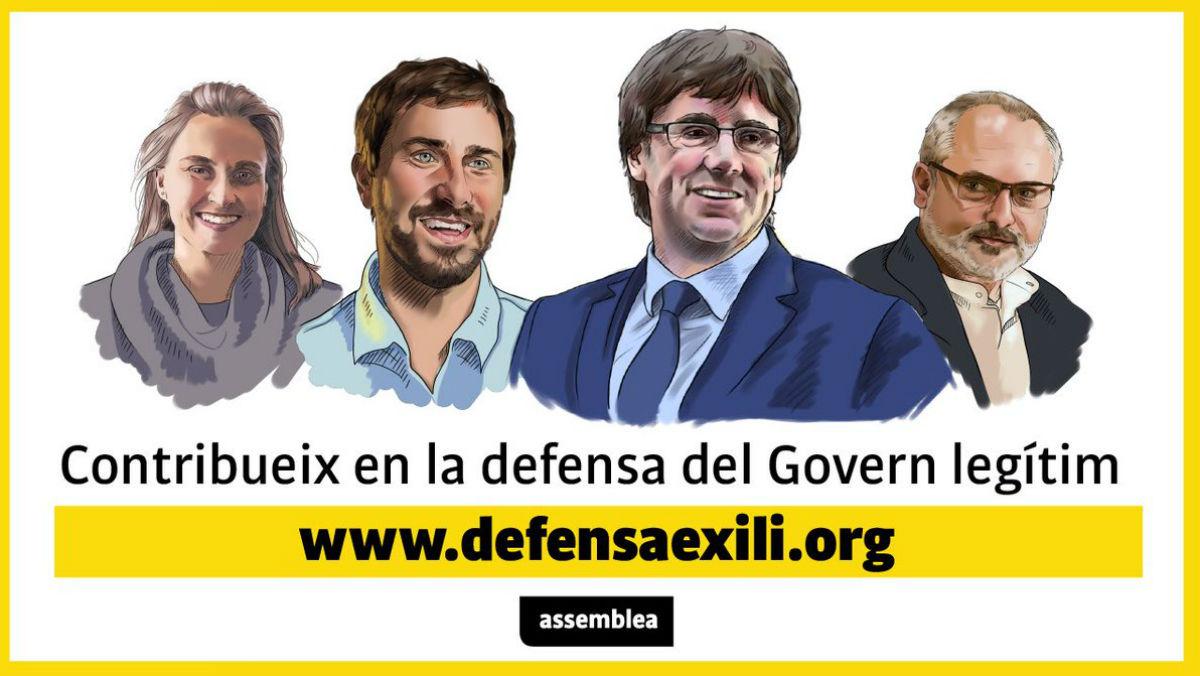 La ANC promociona una nueva web para recaudar fondos para Puigdemont y sus ex consellers.