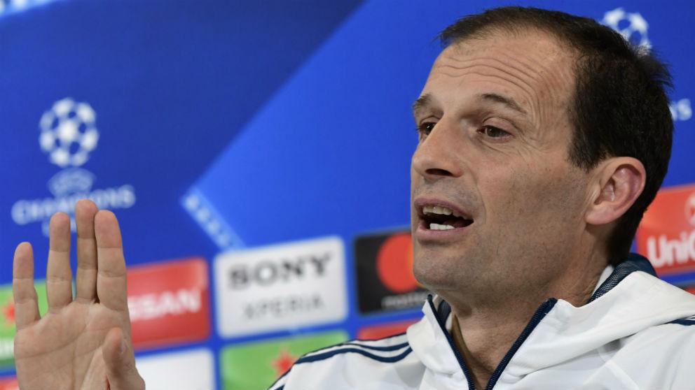 Massimiliano Allegri, durante la rueda de prensa previa al Juventus – Real Madrid. (AFP)