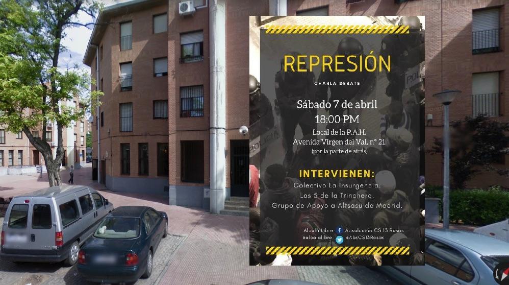 Cartel y ubicación del evento en Alcalá de Henares en apoyo a los agresores de Alsasua. (Foto. GMaps)