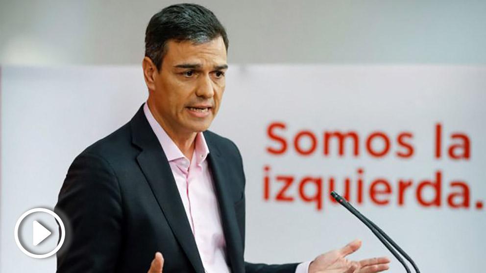 Pedro Sánchez, secretario general del PSOE este lunes en Ferraz (Foto: EFE)