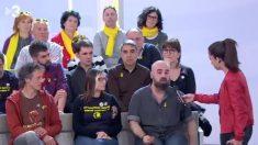 El público que asistió a un programa de TV3 el pasado domingo, luciendo prendas amarillas en apoyo a los golpistas encarcelados