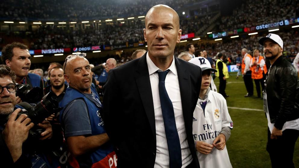 Zidane en la celebración de la Duodécima en Cardiff. (Getty)