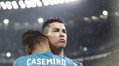 Casemiro y Cristiano celebran el 0-1 del Real Madrid. (AFP)