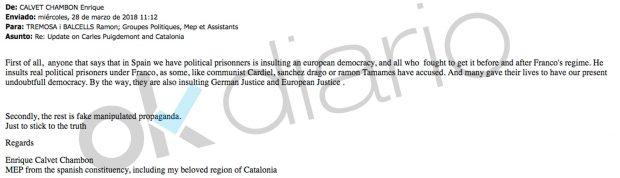 Mail de Enrique Calvet enviado a todo el Parlamento Europeo.