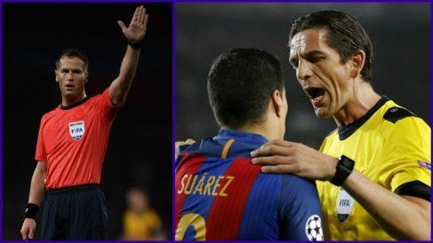 A la izquierda, Makkelie; a la derecha, Aytekin con Luis Suárez.