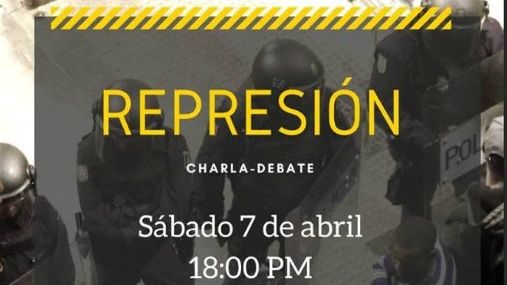 Cartel de la charla-debate 'Represión' en el que la PAH de Alcalá de Henares  invita a los agresores de Alsasua.