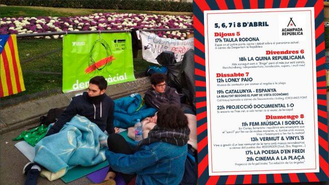 La acampada de Plaza Cataluña se convierte en un festival sin licencia: bingo, alcohol y conciertos