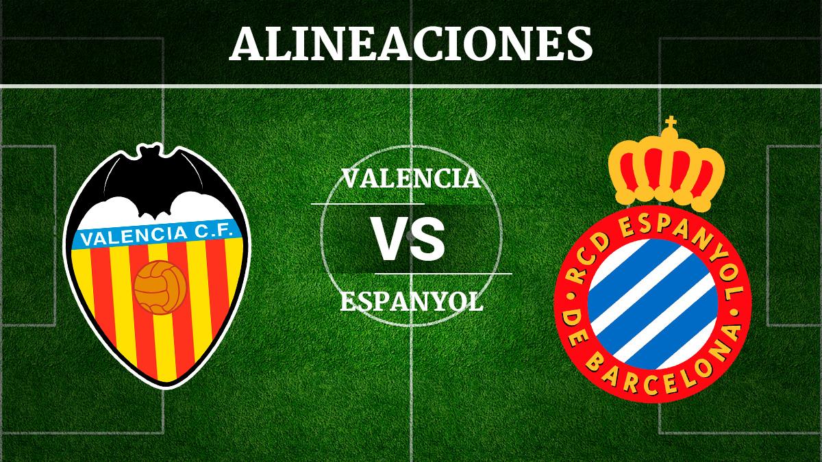 Consulta las posibles alineaciones del Valencia vs Espanyol