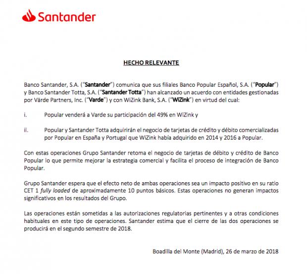 Banco Santander no vendió WiZink a Värde Partners: el negocio se traspasó a una sociedad de Luxemburgo
