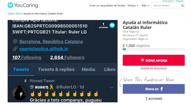 El tuitero que difunde datos de mossos unionistas pide dinero para afrontar una falsa orden de detención