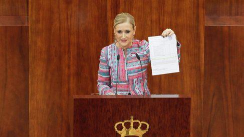 Cristina Cifuentes durante su comparecencia en la Asamblea de Madrid. (Foto: Francisco Toledo)