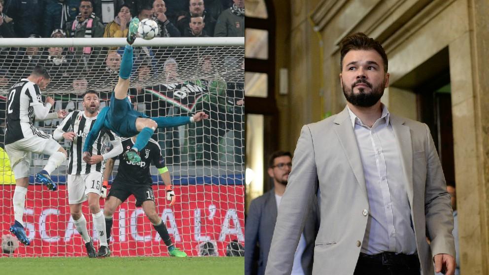 Cristiano Ronaldo marcando el gol de chilena y Gabriel Rufián.