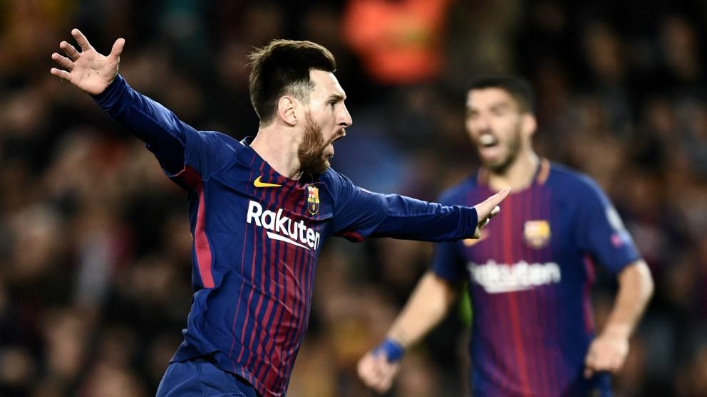 Messi celebra el primer gol. (AFP)