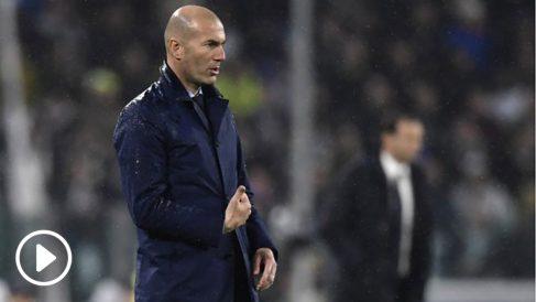 Zidane, en el banquillo del Juventus Stadium.