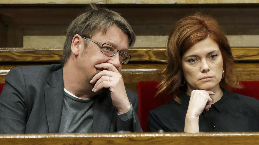 Xavier Domènech y Elisenda Alamany, líder y portavoz de Catalunya en Comú, respectivamente. (Foto. EFE)
