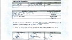 Firmas supuestamente falsificadas del tribunal de defensa del TFM de Cifuentes.