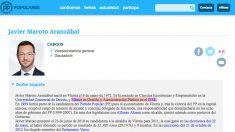 Biografía de Javier Maroto en la web del PP.