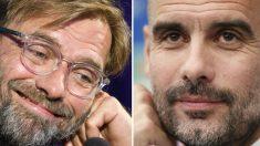 Jurgen Klopp y Pep Guardiola. (AFP)