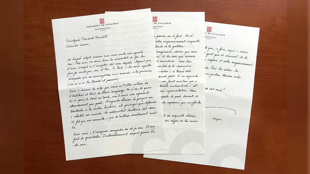 Carta de Roger Torrent a su antecesora, la golpista encarcelada Carme Forcadell.
