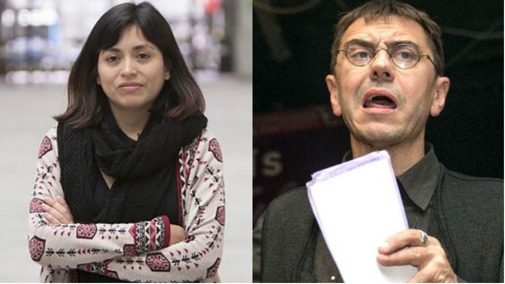 La concejal de Madrid Rommy Arce y el fundador de Podemos Juan Carlos Monedero.