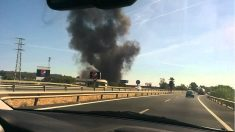 Columna de humo del accidente del Airbus A400M en Sevilla.