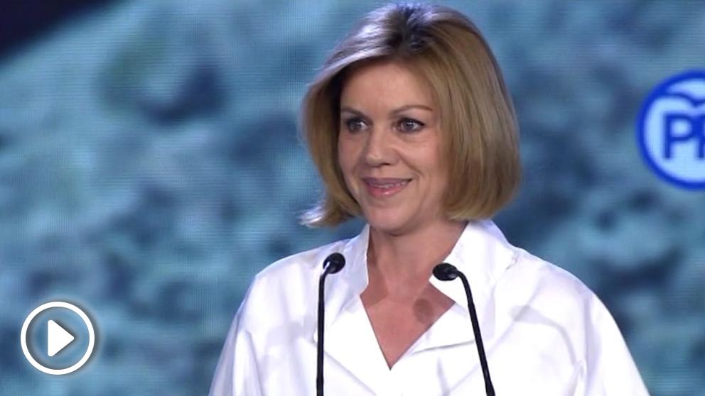 María Dolores de Cospedal durante su intervención en la Convención del PP