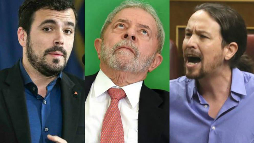 Alberto Garzón (IU), el ex presidente brasileño Lula da Silva y Pablo Iglesias (Podemos).