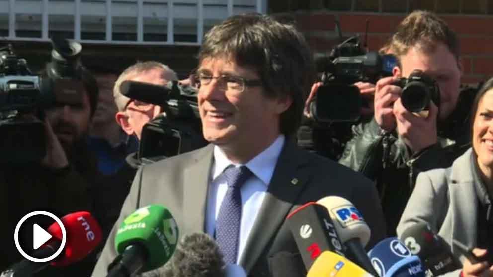 Puigdemont a su salida de la prisión (Fuente: RRSS)
