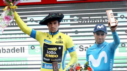 Roglic y Landa en el podio. (EFE)