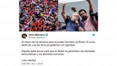 'Tuit' de Irene Montero sobre Lula Da Silva.